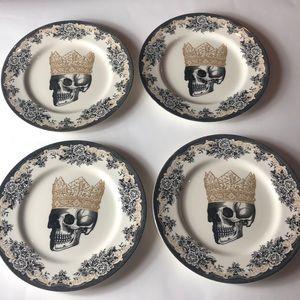 Royal Stanford Halloween skull dinner plates lot 4